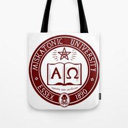 Miskatonic University in Crimson Tote Bag