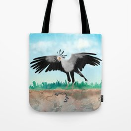 The Secretary Bird and the Snake - African Wildlife Creatures Tote Bag