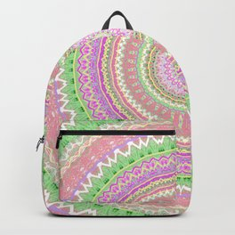 Pastel Pink Green Mandala Backpack