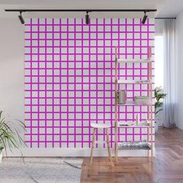 Grid (Magenta & White Pattern) Wall Mural