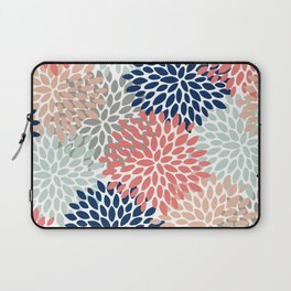 Floral Bloom Print, Living Coral, Pale Aqua Blue, Gray, Navy Laptop Sleeve