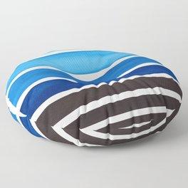 Prussian Blue Minimalist Watercolor Mid Century Staggered Stripes Rothko Color Block Geometric Art Floor Pillow