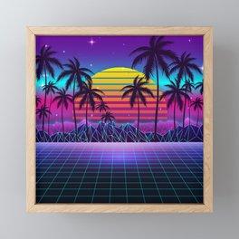 Radiant Sunset Synthwave Framed Mini Art Print