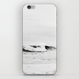 Minimalist Black and White Ocean Wave Photograph iPhone Skin