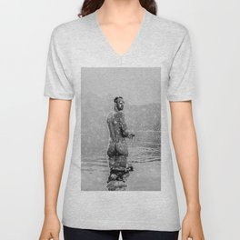 Alpine Snow Lake Nude Unisex V-Neck