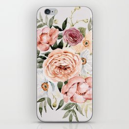 Muted Peonies and Poppies iPhone Skin