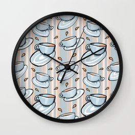 Cups Medley Blue Stripes Wall Clock