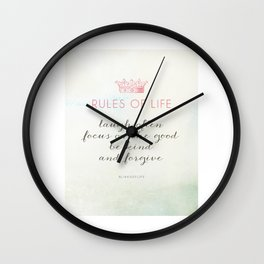 Rules of Life Wall Clock