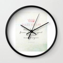 Rules of Life Wall Clock