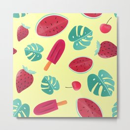 Tropical Watermelon/Cherry/Strawberry Ice-Cream Pattern Metal Print