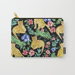 Jungle Cats Leopard on black backgound Carry-All Pouch