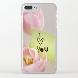 I Heart You with Pink Tulips Clear iPhone Case