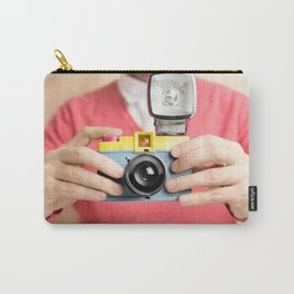 photographer holding toy plastic camera with flash Carry-All Pouch