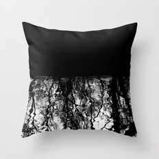 Black and White Tree Branch Silhouette Reflections Throw Pillow