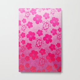 Pink Hibiscus And Honu Turtles Metal Print