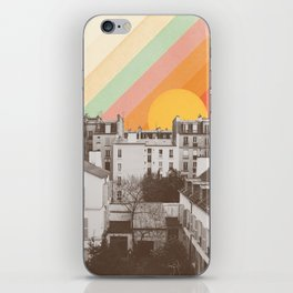 Rainbow Sky Above Paris iPhone Skin