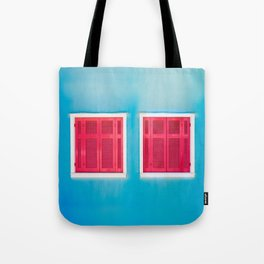 Blue Greek house with Red windows Tote Bag