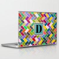 monogram Laptop & iPad Skins featuring D Monogram by mailboxdisco