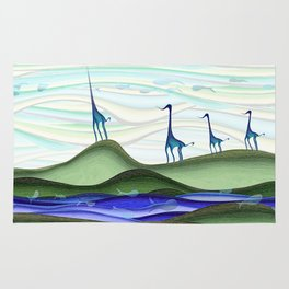 Whimsical blue giraffe march Rug
