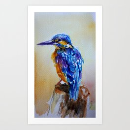 Blue bird in watercolor Art Print