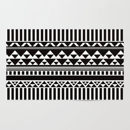 Mountain Stripe Kilim in Black + White Rug