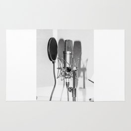 Microphone black and white Rug