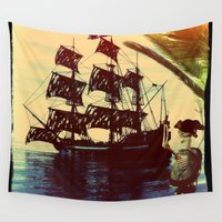 pirate ship Wall Tapestries featuring pirate ship by Ancello