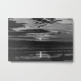 Sunset North Sea Waves Reflections Denmark Bjerregard Beach 7 bw Metal Print