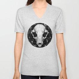 geometric raccoon skull Unisex V-Neck