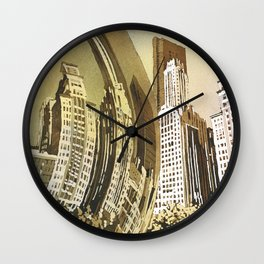 Watercolor painting of Cloud Gate (Chicago Bean) statue and skyscraper skyline in Millennium Park- Wall Clock