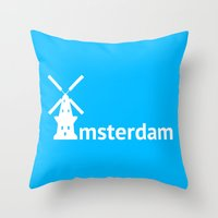 amsterdam Throw Pillows featuring Amsterdam by Flat Design