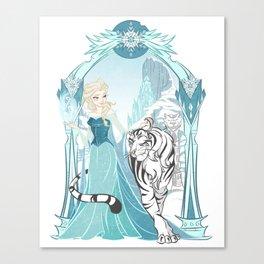 Frozen White Tiger Canvas Print