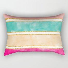 Modern Stripes Pink Red Watercolor Gold Glitter Rectangular Pillow