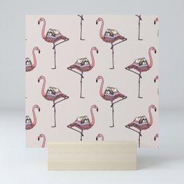 Flamingo and Shih Tzu Mini Art Print