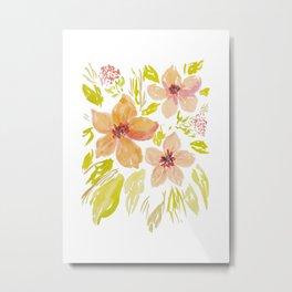 Lose Blush watrcolor flowers Metal Print