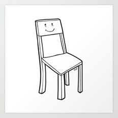 chair boy Art Print