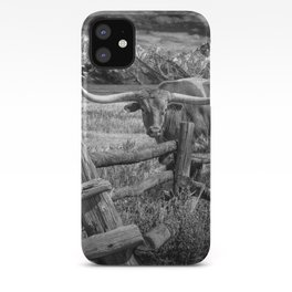 Texas Longhorn Steer by an Old Wooden Fence in Black and White iPhone Case