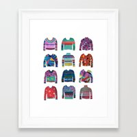 sweater Framed Art Prints featuring Sweater Poster by Valeriya Volkova
