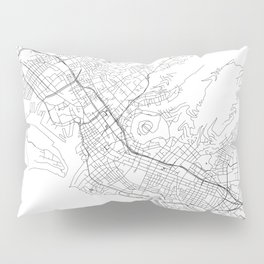 Honolulu White Map Pillow Sham
