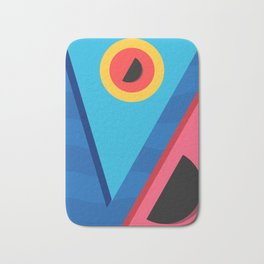 Summer Abstract Art Composition Blue and Pink Bath Mat