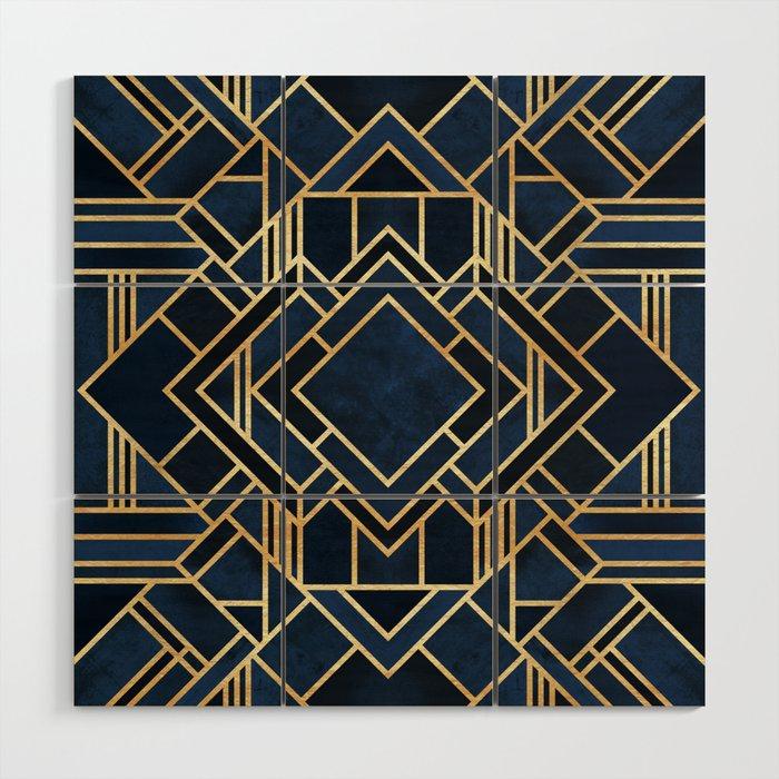 Art Deco Fancy Blue Wood Wall Art