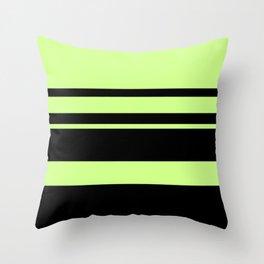 Fluorescent Green neon stripes horizontal Throw Pillow