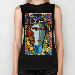 Portrait of a Girl with Hat French Pop Art Expressionism Biker Tank