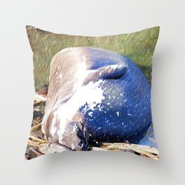 Napping Elephant Seal, San Simeon CA Throw Pillow