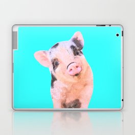 Baby Pig Turquoise Background Laptop & iPad Skin