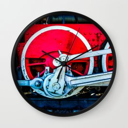 Red Wheels And White Rods Of A Vintage Steam Train Locomotive Wall Clock