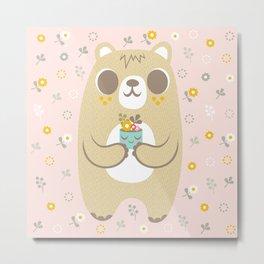 Cute Bear Holding a Plant Metal Print