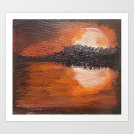 Sunset Silhouette Reflection Painting Art Print