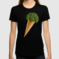 broccoli ice cream SMALL Black Womens Fitted Tee