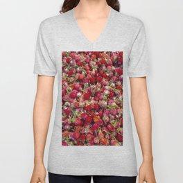 Globe Amaranth Red Flower Pattern. Unisex V-Neck